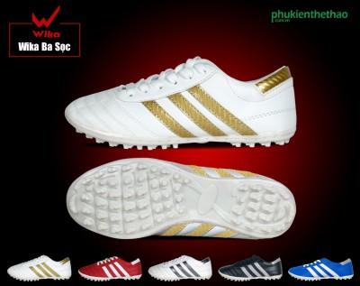 Giày Wika trắng sọc vàng